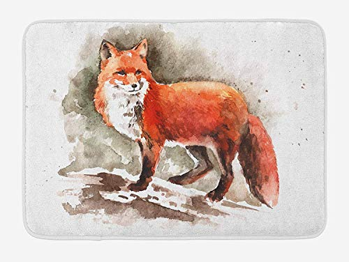 ZiJface Fox Bath Mat, Watercolor Hand Drawn Red Fox with Bushy Tail Brushstrokes Tod Mammal, Plush Bathroom Decor Mat with Non Slip Backing, 31.69 X 19.88 Inches, Burnt Sienna White Brown - Tail Snow Fox
