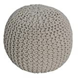 Homescapes Off White Knitted Pouffe Footstool Bean Filled 100% Cotton for Living Room Children or the Elderly