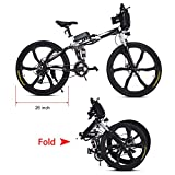 Befied 26inch Vélo de Montagne Électrique 7 Vitesse E-Bike VTT en Alliage d'aluminium Cadre Pliant Chargé 150kg, 36V 250W Moteur, Chargeur Premium Suspendu, Batterie Lithium-ion (Noir)