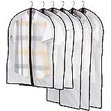 Zedtom Lot de 5 Housse de protection transparente pour Vêtements Costumes Manteaux Jupes Robe
