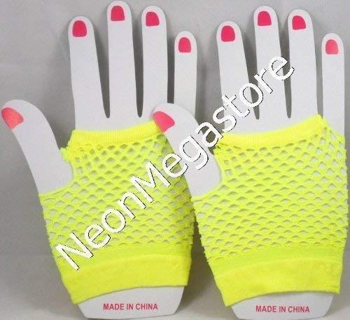 Neon Gelb Fischnetz (Neonfarben Shorts Fischnetz Handschuhe - Gelb)