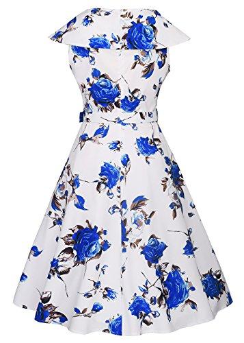 Womens 1950s Boat Neck Vintage Kleid Rockabilly Kleid mit abnehmbarem Gürtel Roses-Blau