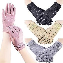 Quacoww - Guantes de protección UV para mujer, diseño de lunares y corazón, no táctiles, 4 pares