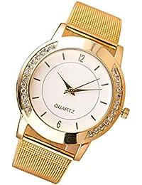 reloj de los mujer , FEITONG Pulsera de reloj de pulsera de cuarzo de acero Cristal manera de las mujeres de oro inoxidable analógica