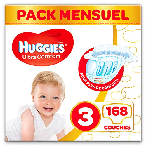Huggies Ultra Comfort - Couches Bébé unisexe - Taille 3 (4-9 kg) x168 Couches - Pack 1 mois