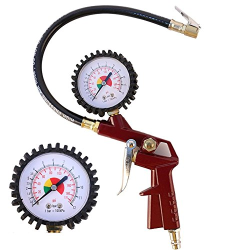 nflador de neumáticos with Flexible Rubber Hose, 3-in-1 Inflation Gun, Lock-On Air Chuck and Pressure Gauge, Range from 0-12bar(0-170 PSI )