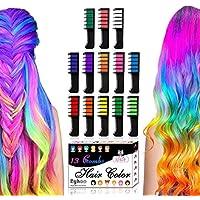Byhoo - Set di 13 pettini con gessetti per colorazione temporanea dei capelli, glitterati, per bambini, lavabili, ideali…
