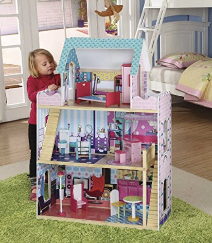 The Magic Toy Shop Large Deluxe Wooden 3 Storey Mansion Dolls House With Furniture Accessories Play Set
