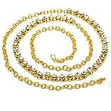#1: PCM Kamar Bandh Gold Plated Kundan Belly Hips Chain Kamarbandh For Women