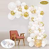 SPECOOL 113Pcs Balloon Garland Kit Balloon Arch Kit Blanc Et Or Confettis Rempli Ballons en Latex Pack avec Bande Ballon pour Anniversaire De Mariage Toile De Fond Décorations