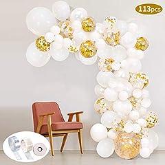 Idea Regalo - Kit pallone a palloncino 113Pcs Kit arco palloncino SPECOOL Kit palloncini in lattice riempito di coriandoli bianchi e oro Con nastro a palloncino per decorazioni di compleanno Sfondo del fondale