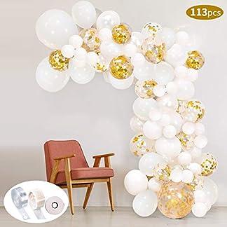 113Pcs Kit de guirnaldas con globos SPECOOL Kit de arcos con globos Confeti blanco y dorado lleno Paquete de globos de látex con cinta de globos para cumpleaños Decoraciones de fondo de bodas