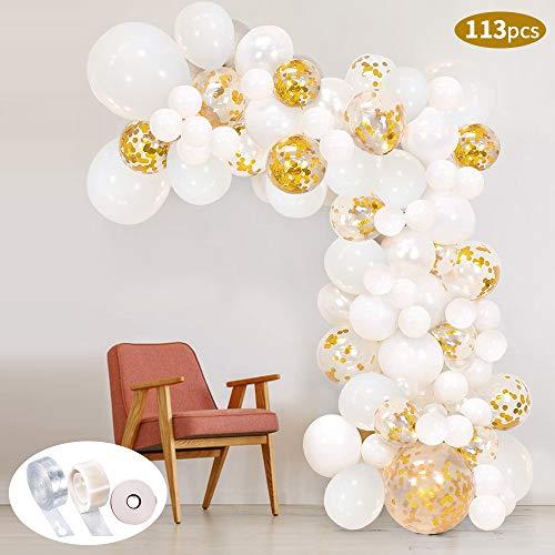 113 Stück Ballon Girlande Kit SPECOOL Latex Konfetti Luftballons Gold Weiß Ballons Partyzubehör für Hochzeit Geburtstag Party Dekorationen