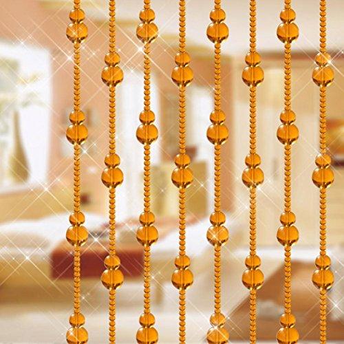 Xshuai Heiße Verkaufs-stilvolle einfache Glas-Kürbis-förmige Korn-Schnur-Troddel-Vorhang-Hochzeits-Teiler-Verkleidungs-Raum-Dekor (1m Blau Gelb Klar Grün Kaffee Schwarz ) (Gelb) -