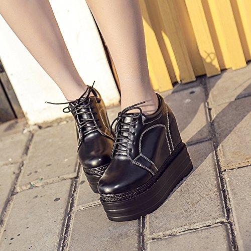GTVERNH-black uno spessore di dodici centimetri solo scarpe gomma super tacchi china tacchi femmina corti stivali legati le scarpe,35 Thirty-four