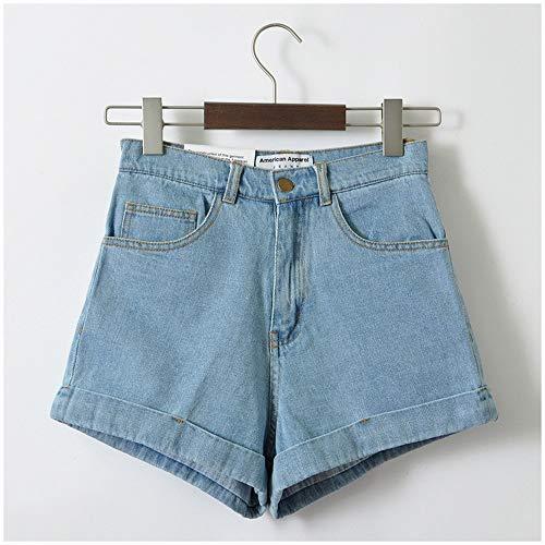 Frauen Shorts,Hellblau Euro Style Frauen Denim Shorts Vintage Hohe Taille Cuffed Jeans Shorts Street Wear Sexy Sommer Frühling Herbst Shorts, 26. -