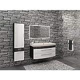 Exklusiv | Badmöbel Set | Rom | mit LED-Spiegel | Weiß/Anthrazit | Waschplatz | Hochschrank