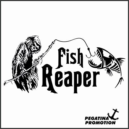 Sensemann Fisch Fish Aufkleber aus Hochleistungsfolie - viele Farben zur Auswahl - Angler Angelboot Sticker Boot Boote Beschriftung Bug Heck Fische Angeln Schlauchboot Nautic See Fischer