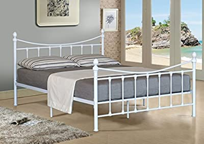 4ft Small Double Metal Bed Frame Bedstead In White With Mattress - low-cost UK light shop.