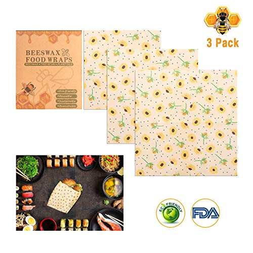 Involucri cera d' api, cera food Wrap riutilizzabile, ingredienti naturali in cotone cerato sandwich Eco friendly Plastic free food incarto Sunflower