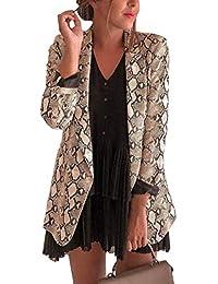 d70ae345f541 Tomwell Blazer Femme Imprimé Léopard Col à Revers Coupe Droite Tailleur  Veste à Manches Longues Blazer