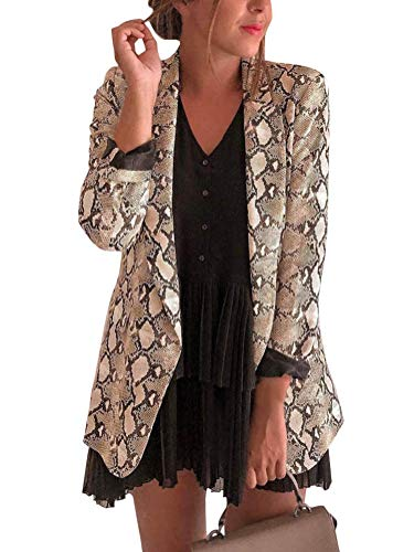 Tomwell Blazer Damen Cardigan Elegant Langarm Leopardenmuster Slim Fit Bolero Jacke Blazer Braun DE 36