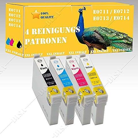 4 x Reinigungspatronen XXL mit Chip kompatibel mit EPSON B40W / BX300F / BX310FN DISA