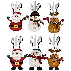 Idea Regalo - Meteor 6 Pezzi Natale portaposate Costume, Babbo Natale Pupazzo di Neve alci, Decorazione per Tavolo