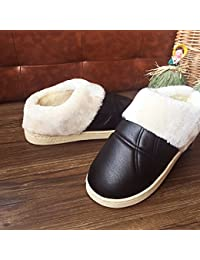 LaxBa Winter Slip auf Hausschuhe Fellimitat Warm gefüttert Schnee Schuhe für Männer Navy Blue 44-45 (42-43)