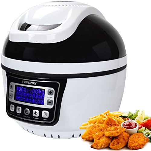 Syntrox Germany Turbo-Heißluftfritteuse Heißluftgarer Fritteuse Air-fryer mit LED-Display, 10 Liter Garraum, max. 250°, Fettfrei frittieren, schwarz