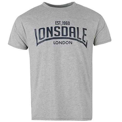 Lonsdale-Scatola da uomo girocollo casual Tee Manica Corta T Shirt Abbigliamento, Grey Marl, XL