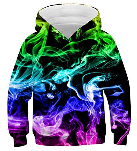 AIDEAONE Jungen Mädchen Bunt Rauch 3D Hoodie Pullover Hooded Sweatshirt 125-145cm