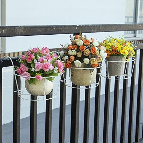 JAZS® Porte-fleurs, garde-corps de fer Guardrail Porte-fleurs suspendue fenêtre balcon Porte-pot à fleurs 23 × 20cm protection de l'environnement raffinée ( Couleur : Blanc )