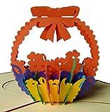 Pu39 Bezaubernde 3D Pop Up Karte mit Umschlag als Dankeschön, zum Geburtstag, zur Verlobung, zur Genesung, zum Jahrestag oder einfach nur als schöne Gutscheinkarte, filigranes Kunstwerk als Einladungskarte oder Glückwunschkarte zum Jubiläum, Blumenkarte