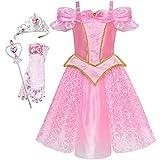 Sunny Fashion Vestido para niña Princesa Disfraz Accesorios Corona Varita mágica 8 años