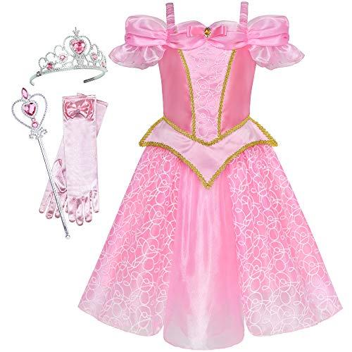 Sunboree Mädchen Kleid Prinzessin Kostüm Zubehör Krone Zauber Zauberstab Gr. 116