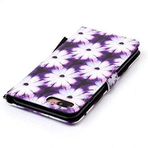 Ledowp Apple iPhone 7Plus custodia portafoglio, copertura integrale design pattern custodia in similpelle di copertura con slot per schede per iPhone 7Plus rosa Owl #1 Flower #2