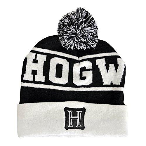 Harry Potter Mütze Hogwarts mit Bommel schwarz weiß