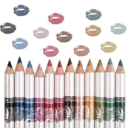 Xiton 12 Farben Eyeliner Wasserdichtes haltbares Eyeliner Pen Lidschatten Lip Liner Lidschatten...
