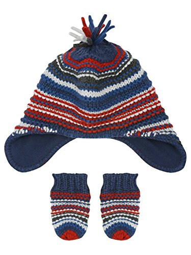 M&Co Baby Boy Navy and Red Texture Stripe Knit Fleece Lined Trapper Hat and Mitts Set Multicolour M (Baby)