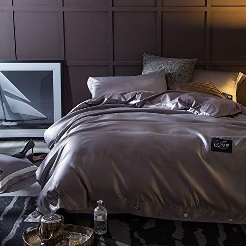 CPDZ 4-teilig Bedruckte Königin, Bettbezug-Set mit 2 Kopfkissenbezug-Bettwäsche Bettbezug 4-teiliges Set Rosa (Weiß) Rosa (Weiß),Gray,L (Bettwäsche-daunendecke-abdeckung)