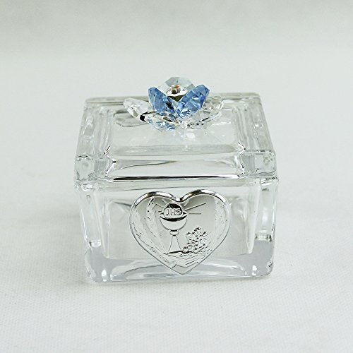 Dlm26434-azzurro scatolina cofanetto portaconfetti con fiore in cristallo per comunione_azzurro bomboniera