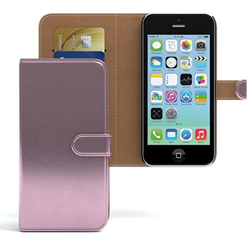 Apple iPhone 5C Tasche, EAZY CASE Book-Style Case Uni, Premium Handyhülle mit Kartenfach, Schutzhülle Geldbeutel mit Standfunktion, Wallet Case, Etui mit Kartenfach in Gelb Metallic Rosa