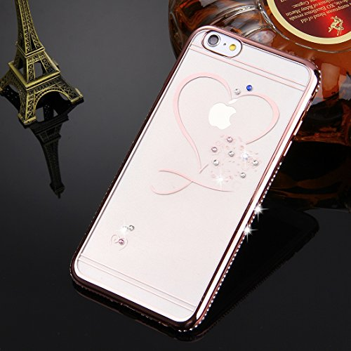 iPhone 6S Plus-6 Plus klarer Fall, KrygerShield® - Luxus Super Skinny Diamant Stoßstangenabdeckung leicht - Rotgold (Herz)