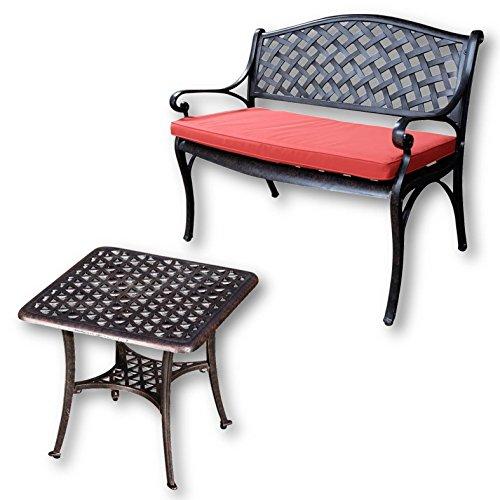 Lazy Susan - JASMINE Gartenbank und SANDRA Quadratischer Kaffeetisch - Gartenmöbel Set aus Metall, Antik Bronze (Terracotta Kissen)