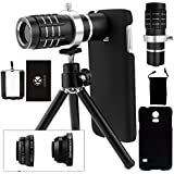 Samsung Galaxy S5 Kamera-Objektiv-Set inklusive eines 12-fach Tele Objektives mit manuellem Fokus / Fisheye Objektiv / 2 in 1 Makro-Objektiv und Weitwinkel-Objektiv / Universalhalter / Ministativ / Samsung-Galaxie S5-Schutzh�lle / CamKix Mikrofaser Reinigungstuch