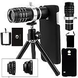 Samsung Galaxy S5 Kamera-Objektiv-Set inklusive eines 12-fach Tele Objektives mit manuellem Fokus / Fisheye Objektiv / 2 in 1 Makro-Objektiv und Weitwinkel-Objektiv / Universalhalter / Ministativ / Samsung-Galaxie S5-Schutzhülle / CamKix Mikrofaser Reinigungstuch