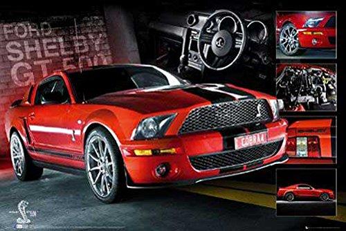 Mustang - Easton - Red - Auto Poster Car Sportwagen Rennauto Streetrace Tuning Tuned 91,5x61cm + 1 Ü-Poster der Grösse 61x91,5cm