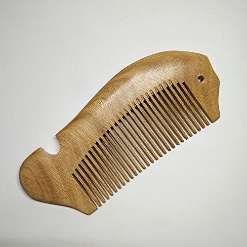 Chenxi Shop en forme de poisson en bois de santal Vert Peigne en bois naturel Peigne à cheveux antistatique faite à la main en bois Peigne (grande)