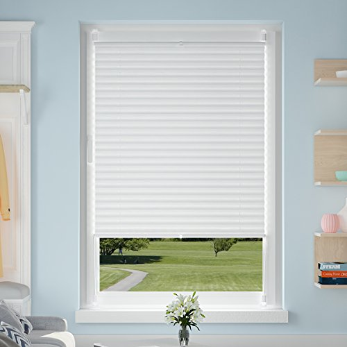 Price comparison product image OUBO Thermal Blackout Pleated Blinds 65 x 120 cm White Window Shade Venetian opaque Plissee with Thermal - Coating Klemmfix No Drilling install